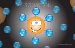 In salvation, solute particles are surrounded by solvent molecules