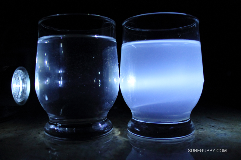 TYNDALL EFFECT EXPERIMENT TEST FOR COLLOIDS USING A GLASS OF DILUTED MILK