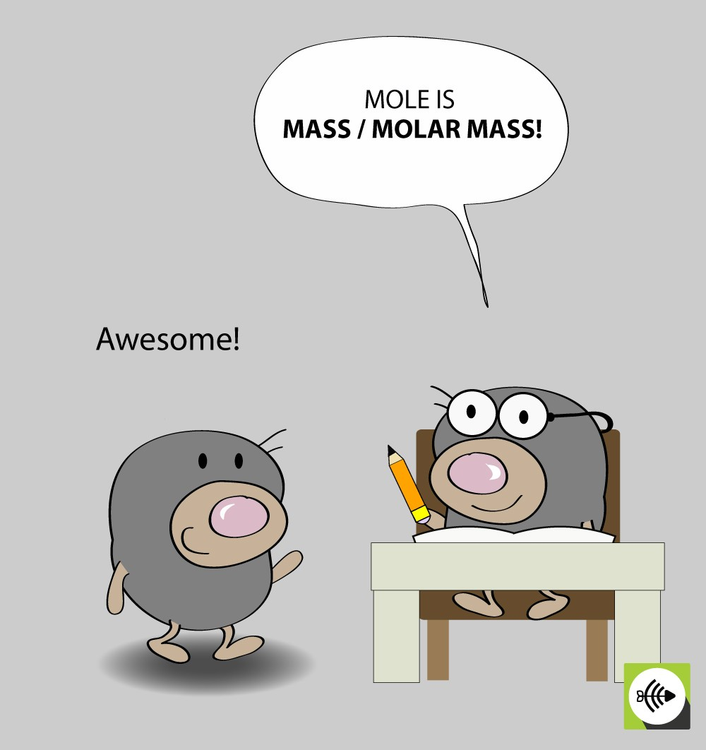 The number of mole is mass divided by molar mass