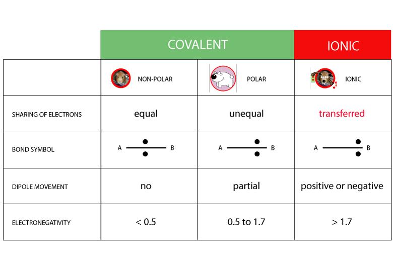 POLAR, NON-POLAR, IONIC BOND COMPARISON CHART