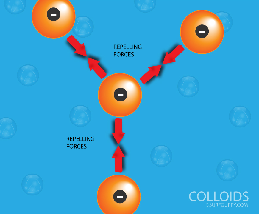 ALL PARTICLES OF A GIVEN COLLOID TAKE ON THE SAME CHARGE AND THEREFORE REPELL ONE ANOTHER