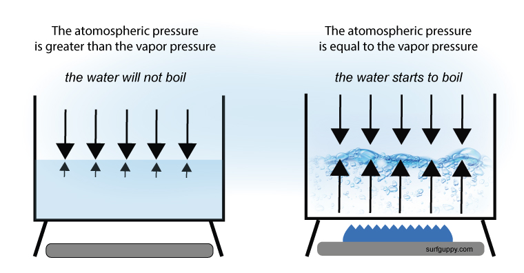 Vapor pressure of the liquid and atmospheric pressure