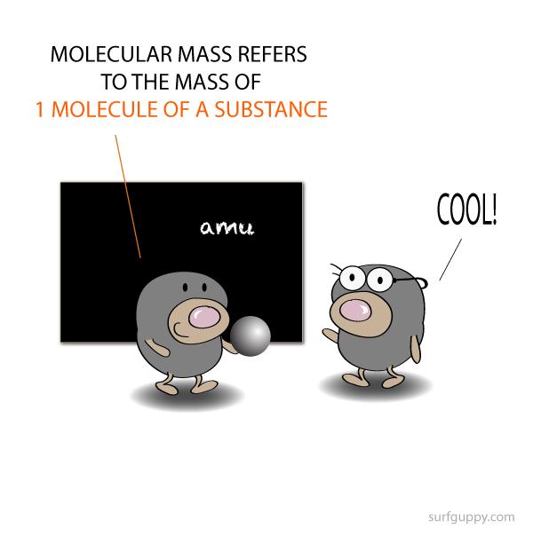 Molecular mass is the mass of 1 molecule of a substance