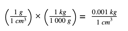 convert density of water to correct unit
