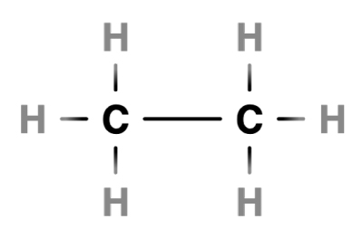 Structural drawing of an ethane molecule showing the single carbon to carbon bond