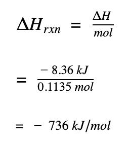 calculate enthalpy change per moles of reaction