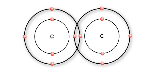 Two carbon atoms forming a single bond