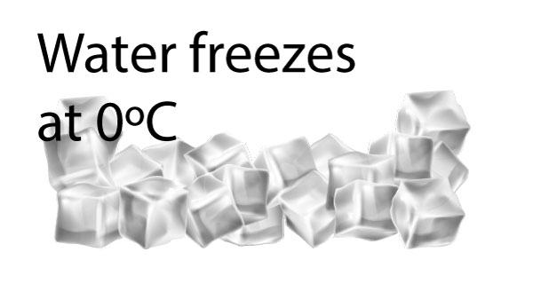 water freezes at 0ºC